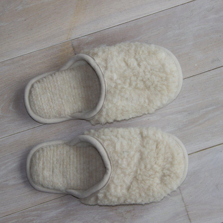Cream Merino Wool Slippers