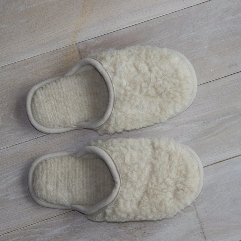 Cream Merino Wool Slippers
