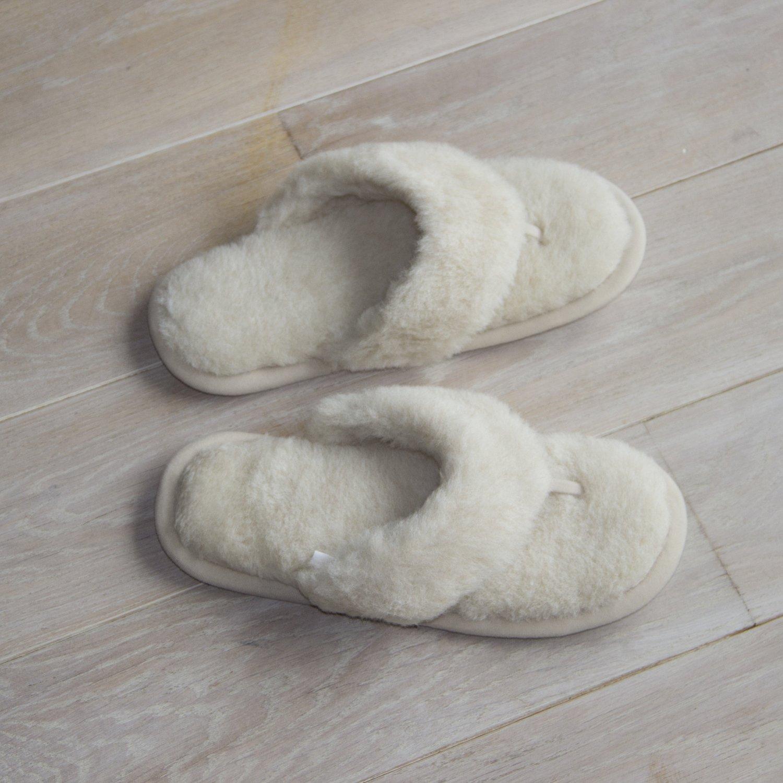Cream Wool Flip-Flop Slippers