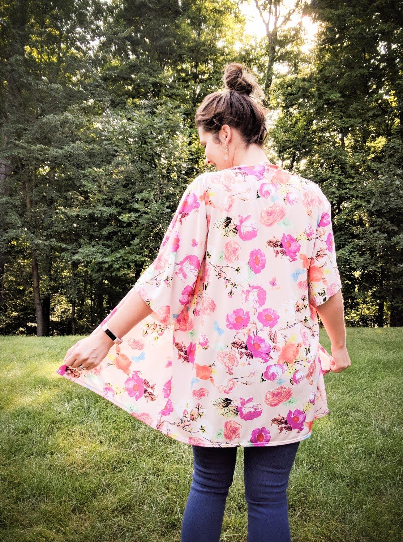 Peach floral kimono in soft, stretchy knit