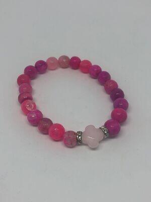 Armband Roze Agaat met Rozenkwarts