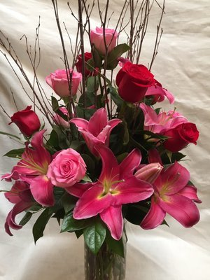 Lilies and Roses by Twigs Florist