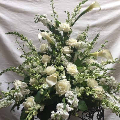 White Urn by Twigs Florist