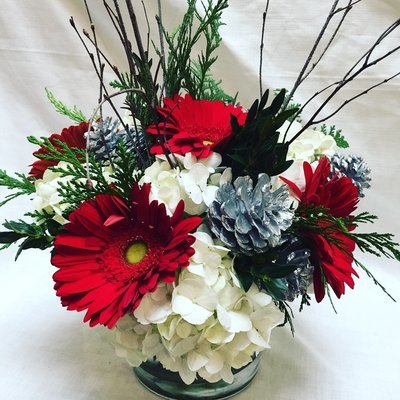 Silver and Red by Twigs Florist