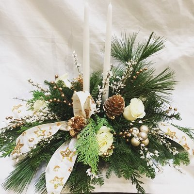 White Elegance Christmas Centerpiece by Twigs Florist