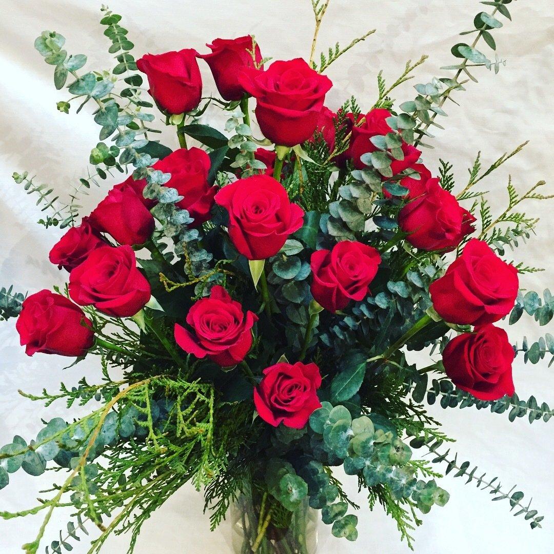 Two Dozen Roses Vase Arranged by Twigs Florist
