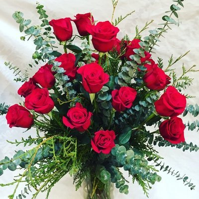 Two Dozen Roses Vase Arranged by Twigs Florist