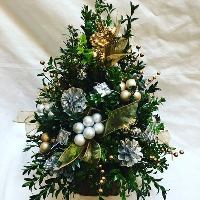 Silver and Gold Boxwood Tree by Twigs Florist