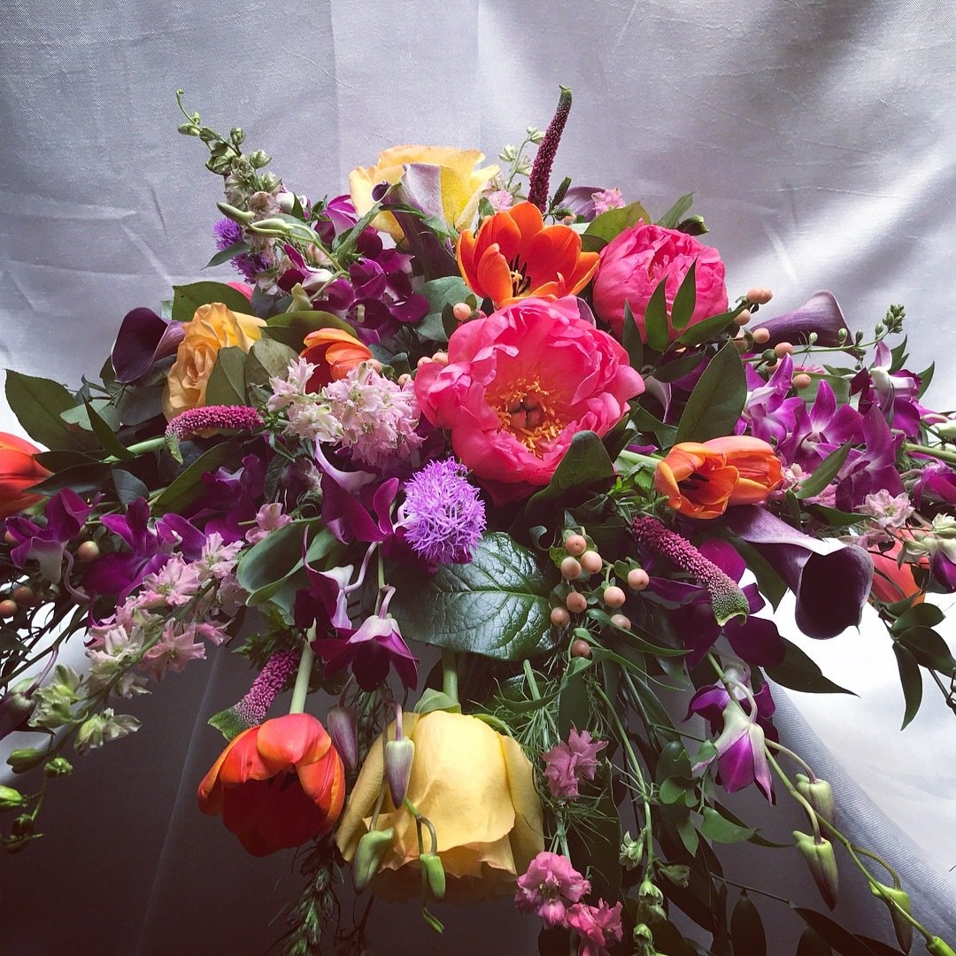 Colorful Casket Spray by Twigs Florist