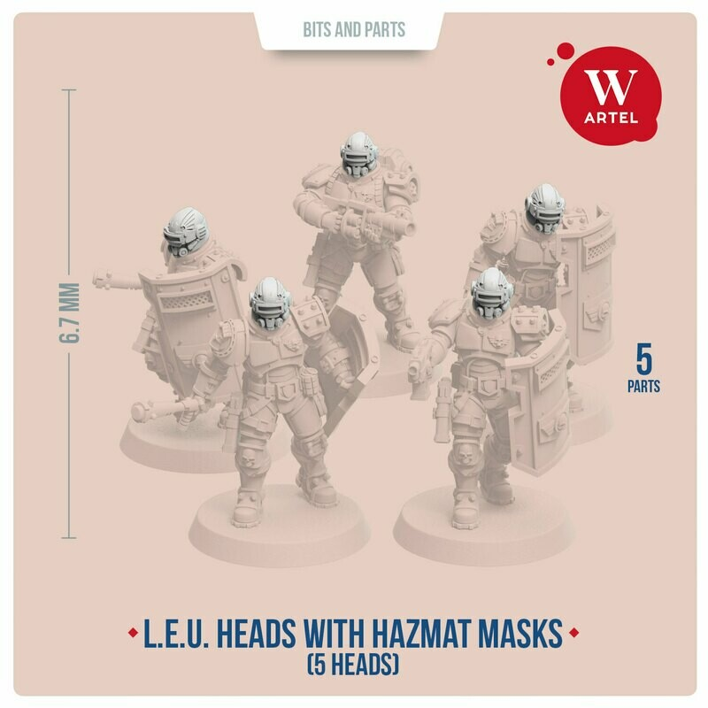 Helmeted Heads with Hazmat Masks