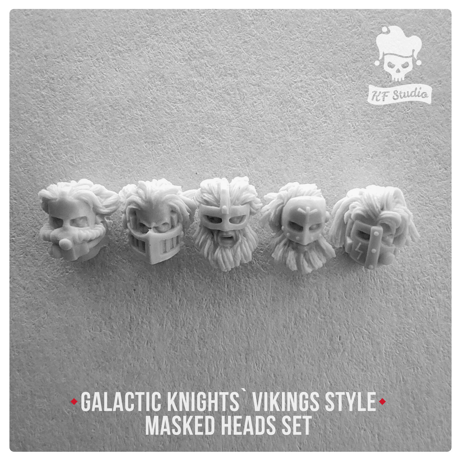 Galactic Knights Viking Style Heads in masks by KFStudio