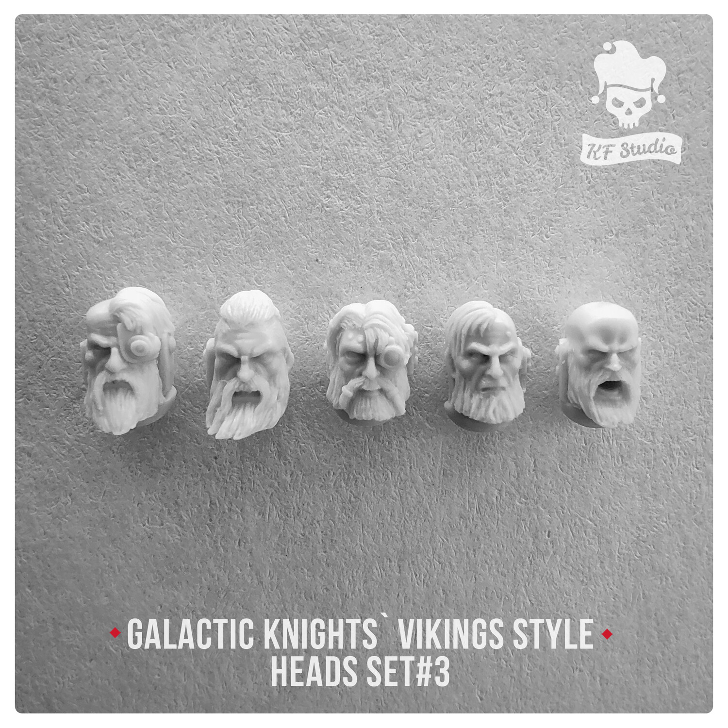 Galactic Knights Viking Style Heads Set#3 by KFStudio