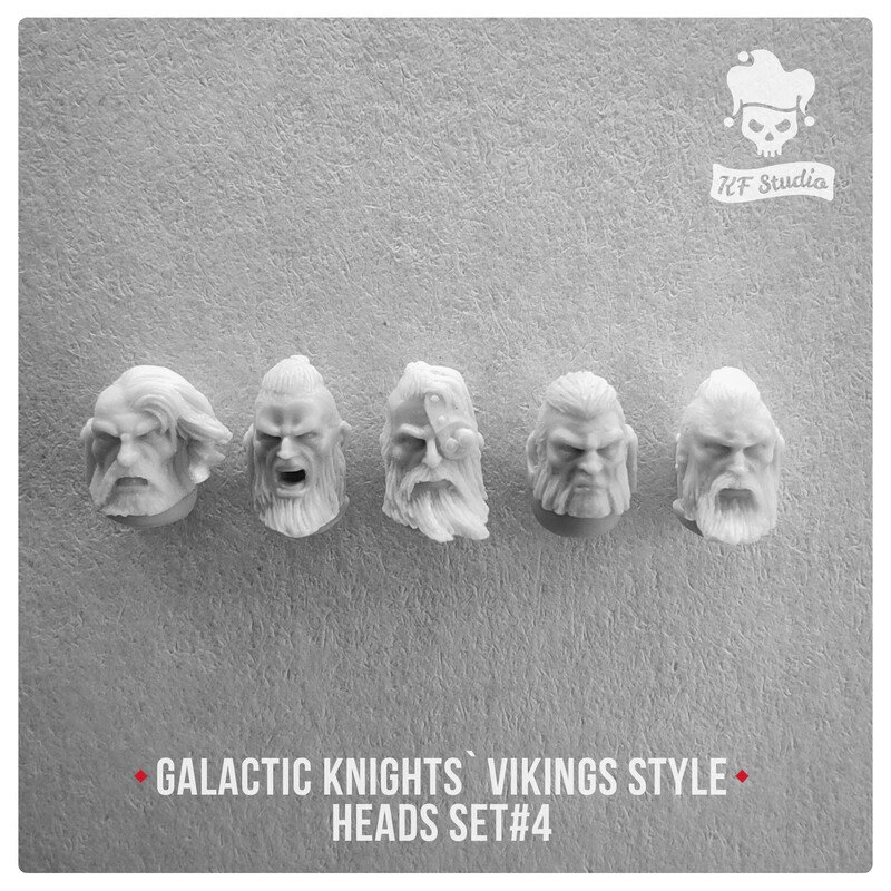 Galactic Knights Viking Style Heads Set#4 by KFStudio