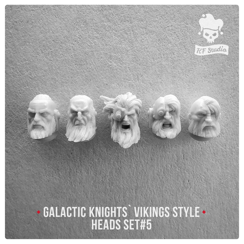 Galactic Knights Viking Style Heads Set#5 by KFStudio