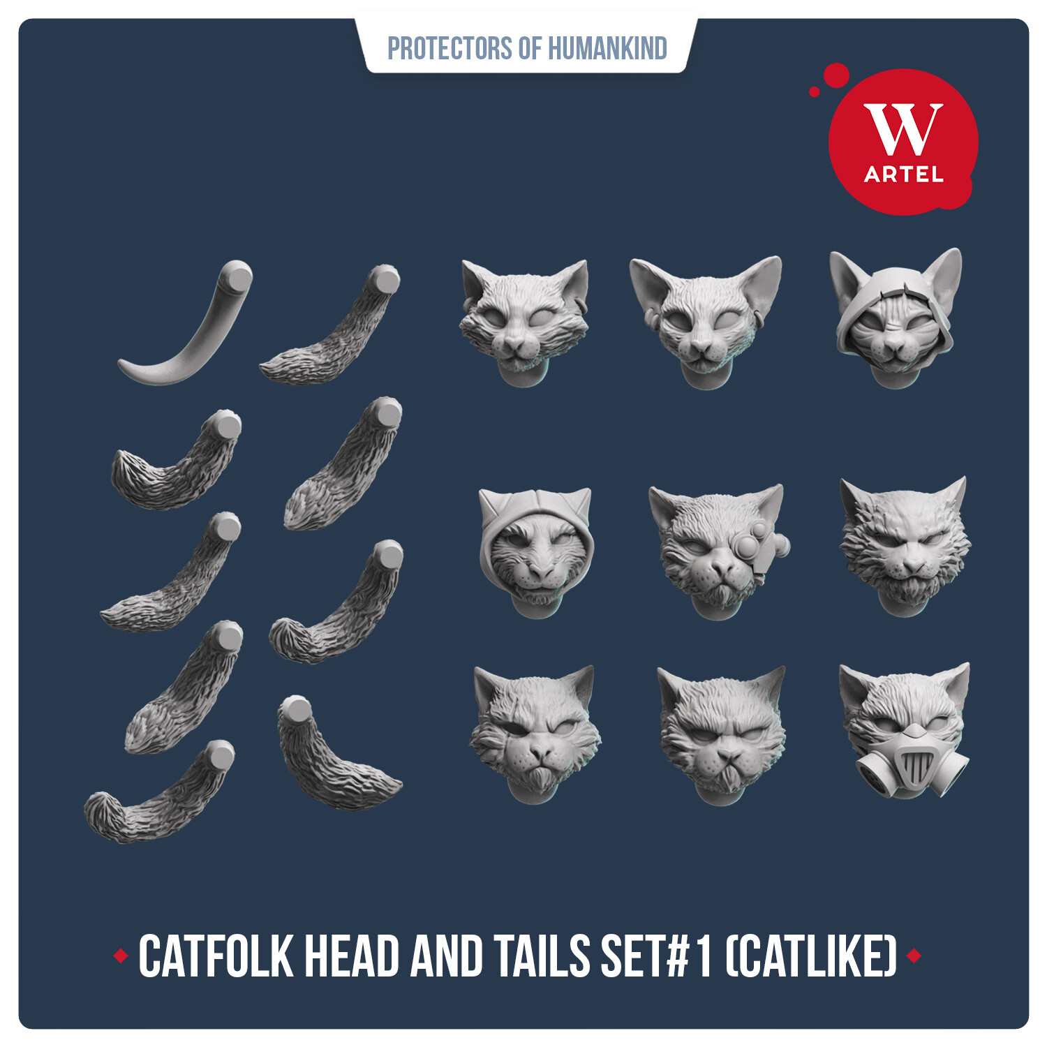 Catfolk Head and Tails Set#1 (Catlike)