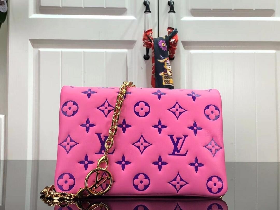 POCHETTE COUSSIN, Pink / Purple, Monogram-embossed leather