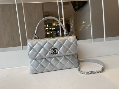 FLAP BAG WITH TOP HANDLE, Silver Leather & Silver-Tone Metal