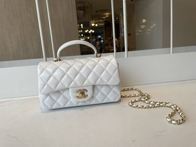 MINI FLAP BAG WITH TOP HANDLE, Leather & Gold-Tone Metal