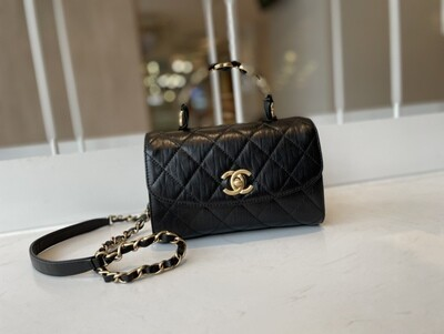 MINI FLAP BAG WITH TOP HANDLE, Crumpled Leather & Gold-Tone Metal
