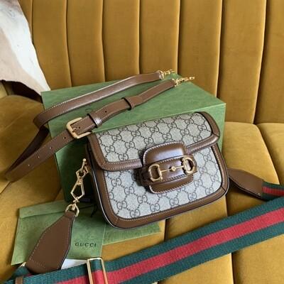 GUCCI HORSEBIT 1955 MINI BAG, Beige and ebony GG + Brown leather