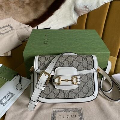 GUCCI HORSEBIT 1955 MINI BAG, Beige and ebony GG + White leather