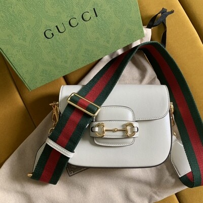 GUCCI HORSEBIT 1955 MINI BAG, White leather