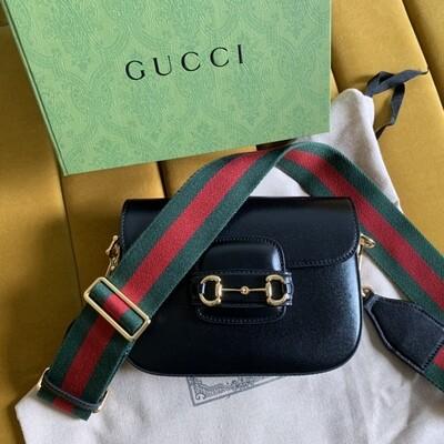 GUCCI HORSEBIT 1955 MINI BAG, Black leather