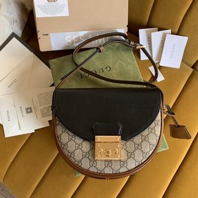 PADLOCK SMALL SHOULDER BAG, Beige & Ebony GG + Brown & Black Leather