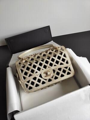 FLAP BAG, Metallic Perforated Leather, Tweed & Gold-Tone Metal