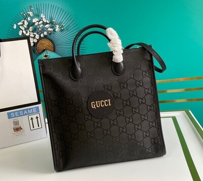 GUCCI OFF THE GRID LONG TOTE BAG, Black GG nylon made from ECONYL®
