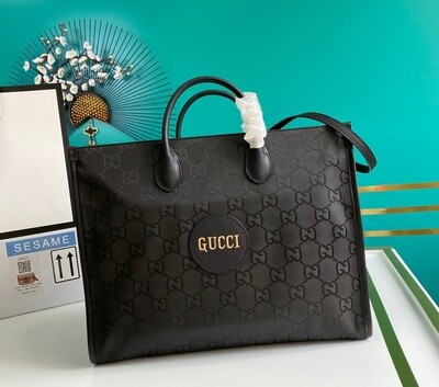 GUCCI OFF THE GRID TOTE BAG, Black GG nylon made from ECONYL®