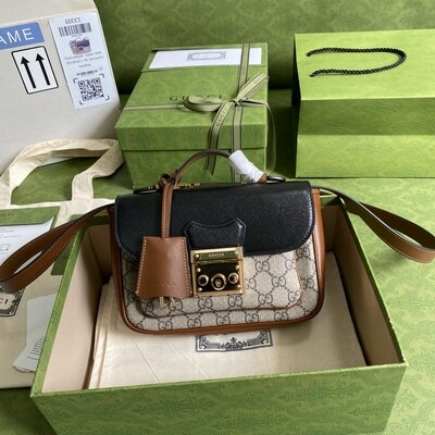 PADLOCK MINI BAG, Beige & Ebony GG Supreme Canvas + Black Leather