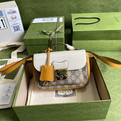 PADLOCK MINI BAG, GG Supreme Canvas + White Leather