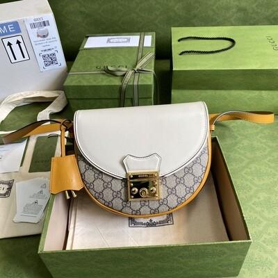 PADLOCK SMALL SHOULDER BAG, Beige & Ebony GG + White & Burnt Orange Leather