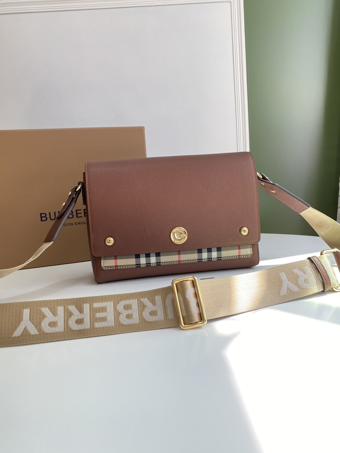 LEATHER & VINTAGE CHECK NOTE CROSSBODY BAG, Tan