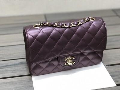 MINI FLAP BAG, Purple Metallic Leather & Gold-Tone Metal