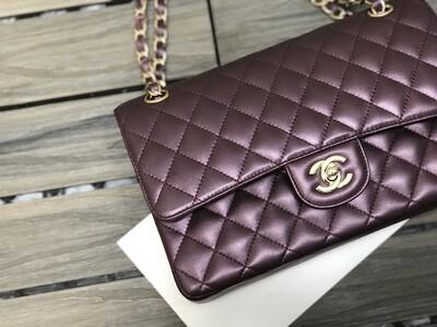 CLASSIC HANDBAG, Purple, Metallic Leather & Gold Metal