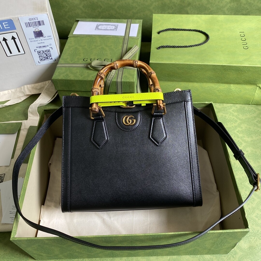 GUCCI DIANA, Small Tote Bag, Black leather