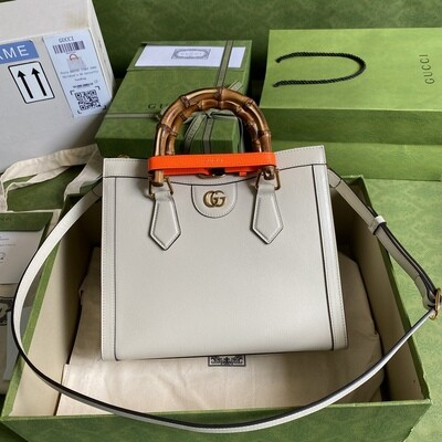 GUCCI DIANA, Small Tote Bag, White leather
