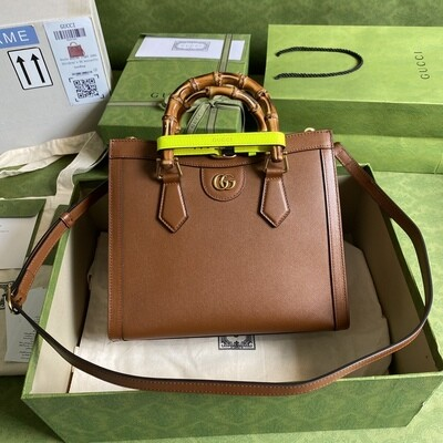 GUCCI DIANA, Small Tote Bag, Brown leather