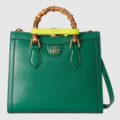 GUCCI DIANA, Small Tote Bag, Emerald leather