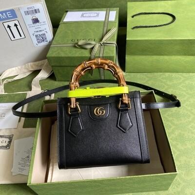 GUCCI DIANA, Mini Tote Bag, Black leather