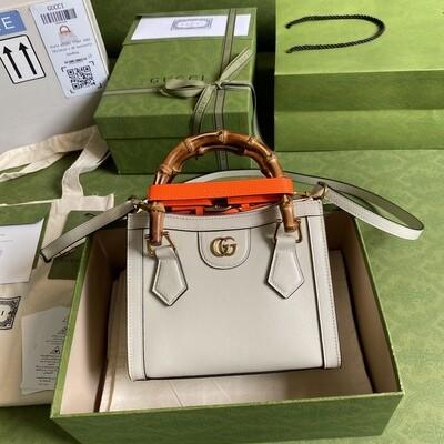 GUCCI DIANA, Mini Tote Bag, White leather