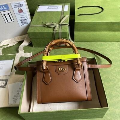 GUCCI DIANA, Mini Tote Bag, Brown leather