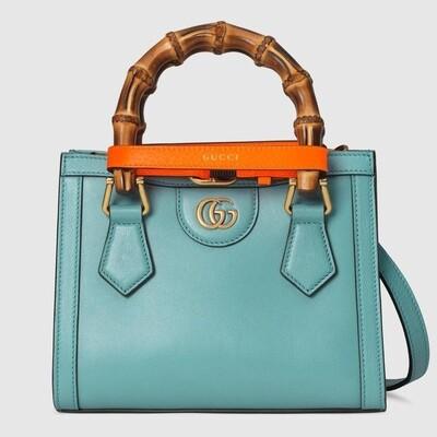 GUCCI DIANA, Mini Tote Bag, Light blue leather