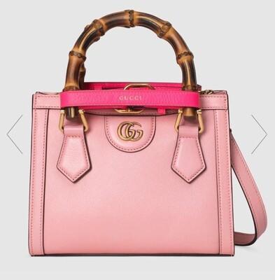 GUCCI DIANA, Mini Tote Bag, Pastel pink leather
