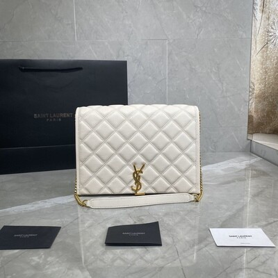 BECKY SMALL CHAIN BAG, Blanc Vintage, Quilted Leather
