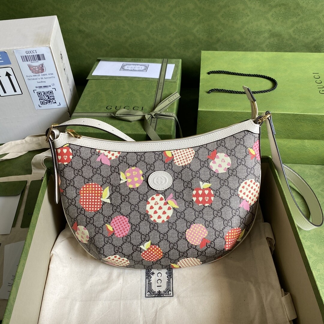 GUCCI LES POMMES OPHIDIA, Beige With Apple Print, Small Bag