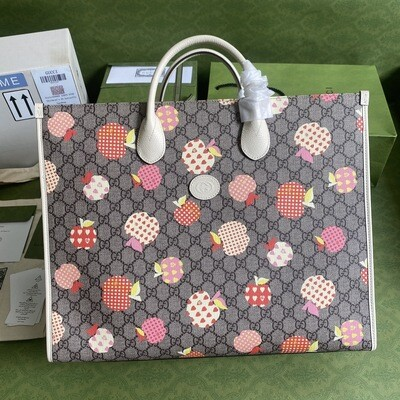 GUCCI LES POMMES LARGE TOTE, Beige With Apple Print,