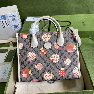 GUCCI LES POMMES SMALL TOTE, Beige With Apple Print,